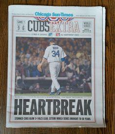 Chicago Cubs Heartbreak Oct. 16 2003 Chicago Sun-Times Newspaper Bartman Marlins #ChicagoCubs
