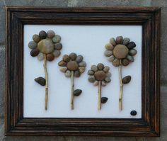 Pebble Art Flowers / Rock Art Flowers Four Large от CrawfordBunch