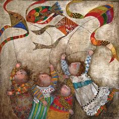 Graciela Rodo Boulanger - Les Quatre Cerfs-Volants * Movement in the flags especially - great place to use color as contrast