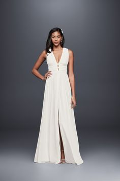 35aebb9a401 Sleek banding defines the softly pleated plunging bodice and waistline of  this fluid silk goddess gown. A front slit and open back detail complete the  soft ...