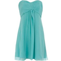 Green pleat babydoll dress ($27) ❤ liked on Polyvore featuring dresses, vestidos, short dresses, vestiti, blue, women, green chiffon dress, strapless cocktail dresses, blue cocktail dress and short chiffon dress