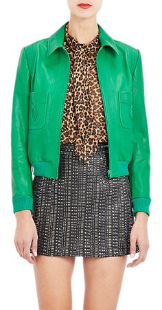 Saint Laurent Patch Pocket Leather Jacket - Leather - Barneys.com