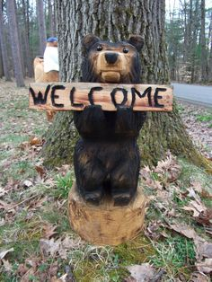 Chainsaw Carved Welcome Bear by carvnstitch on Etsy, $125.00
