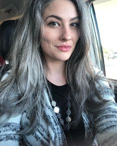 Grey Hair And Makeup, Hair Makeup, Long Layered Hair With Side Bangs, Grey Hair Inspiration, Gray Hair Growing Out, Transition To Gray Hair, Salt And Pepper Hair, Natural Hair Styles, Long Hair Styles