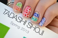 Nailed it: Here are the colors I used for each pattern, which was patiently painted freehand with a sole striping brush:  My Boyfriend Scales Walls (OPI)  Sand Tropez (Essie)  Life Preserver (China Glaze)  Dutch Tulips (OPI)  Limelight (Ulta)  Four Leaf Clover (China Glaze)  Caribbean (Savina)  Secret Peri-Wink-Le (China Glaze)
