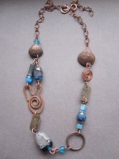 Copper Necklace with Blue Glass by Mary Bulanova.