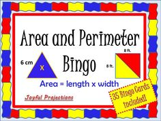 Students will have tons of fun reviewing area and perimeter while playing this great Bingo game! 35 Bingo Cards included!