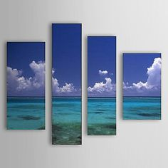 Hand Painted Oil Painting Landscape Sea and Sky Set of 4 with Stretched Frame 1307-LS0108 - USD $ 199.99
