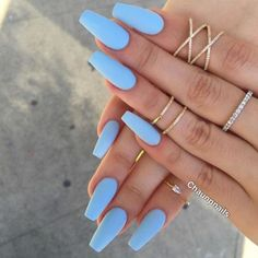 Nail - Matte nails have become super popular in the last year, and these 16 unique matt. - - Matte nails have become super popular in the last year, and these 16 unique matte nail designs will seriously blow you away! nails nail ideas trendy n. Periwinkle Nails, Sky Blue Nails, Blue Acrylic Nails, Blue Matte Nails, Pastel Blue Nails, Pastel Colors, Acrylic Nails For Summer Coffin, Blue Coffin Nails, Matte Nail Polish