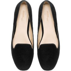 Zara Basic Velvet Slipper (110865 PYG) ❤ liked on Polyvore featuring shoes, slippers, flats, black and sapatos