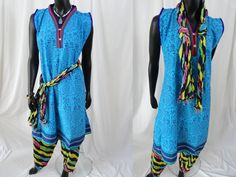 Tights top or jeans top from India. Boho, ethnic yoga top- turquoise blue. Summer, casual, gypsy dress tunic. ComfyCottons from Artikrti. by Artikrti on Etsy