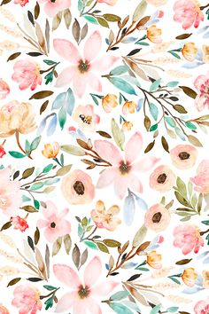 Watercolor floral design by indybloomdesign watercolor flower background, watercolor floral wallpaper Watercolor Wallpaper, Watercolor Flowers, Watercolor Art, Painting Flowers, Watercolor Pattern, Floral Watercolor Background, Green Watercolor, Drawing Flowers, Flower Design Drawing