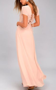 World On A String Blush Lace Up Maxi Dress via @bestmaxidress