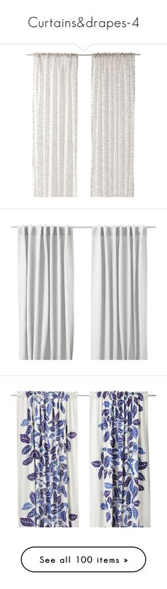 """Curtains&drapes-4"" by shadows-of-design ❤ liked on Polyvore featuring home, home decor, window treatments, curtains, white patterned curtains, textured curtains, track curtains, white curtains, white tab curtains and ikea"