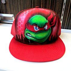 TMNT teenage mutant ninja turtle - Custom Airbrush Personalized Hat #Handmade #Trucker