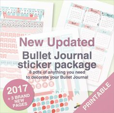 Bullet Journal Stickers Package in teal and salmon by BumbleBeasy