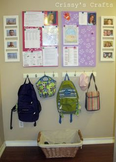 Crissy's Crafts: School is in Session - Get Organized! I like the hooks and basket for shoes maybe with some file folders on the wall above hooks instead of boards