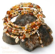 Autumn Leaves Memory Wire Bracelet by We3Creations01 on Etsy, $15.00