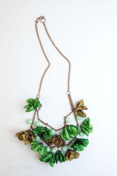 beautiful necklace with tafta flowers