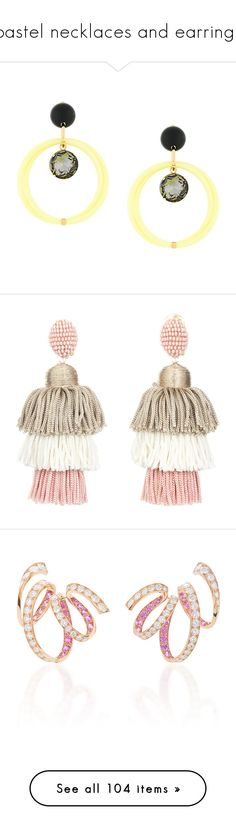 """""""pastel necklaces and earrings"""" by belinda-1 ❤ liked on Polyvore featuring jewelry, earrings, yellow, clip back earrings, marni jewelry, yellow earrings, marni earrings, clear crystal earrings, clip on earrings and beaded tassel earrings"""