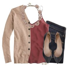 A fashion look from October 2015 featuring v neck tops, silk camisole and zip jeans. Browse and shop related looks. Cute Fall Outfits, Fall Winter Outfits, Work Outfits, Spring Outfits, Work Fashion, Fashion Outfits, Womens Fashion, Fasion, Fashion Tips