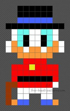 Scrooge McDuck free Disney pixelart perler beads 10x17 Hama Disney, Hama Beads Disney, Pony Bead Patterns, Hama Beads Patterns, Beading Patterns Free, Diy Crafts For Gifts, Diy Home Crafts, Hama Maxi, Pony Bead Crafts