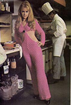 Vintage Fashion fashionista / cutout jumpsuit / women's retro fashion / the seventies / why is she in a kitchen tho - By Noleen King 70s Outfits, Vintage Outfits, Stylish Outfits, 70s Mode, Retro Mode, Vintage Mode, 60s And 70s Fashion, Retro Fashion, Vintage Fashion