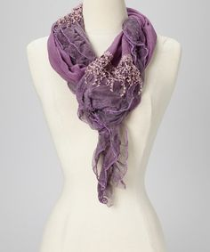 Look at this Purple Floral Lace Scarf on #zulily today!