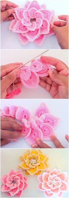 Crochet Beautiful 3D Flower Free Pattern [Video]