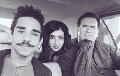 Ray Santiago, Dana DiLorenzo and Bruce Campbell in The Classic on set of Ash vs Evil Dead