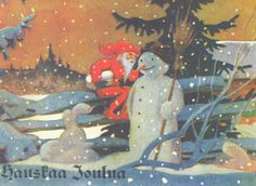 Chistmas by Rudolf Koivu Good Old Times, Winter Art, Christmas Illustration, Vintage Christmas Cards, Scandinavian Christmas, Elves, Finland, Martini, Illustrators