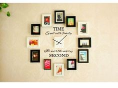 TIME SPENT WITH FAMILY Wall Art Decal Quote Clock Modern Home Decor Decal Vinyl Art DIY Words Lettering Decor Sticker Design