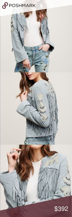 🎉RARE FIND🎉For the Dreamers Jacket Free People Statement boho suede jacket featuring western-inspired contrast appliques and metal stud detailing with fringe accents. Hidden hook-and-eye closure. Lined.  Leather Lining: 100% Cotton Dry Clean Import Jackets & Coats