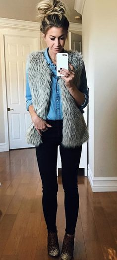 #winter #outfits brown fur vest
