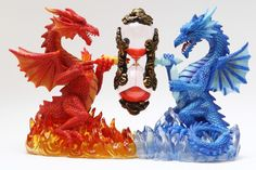 "Fire and Ice Dual Dragon Hourglass Sandtimer Figurine Decorative Statue 10.5""L"