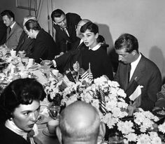 Audrey Hepburn at reception for Belgian King. With Frank Sinatra.
