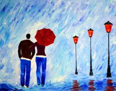 paintings rain painting couple love night alley lights by malorcka