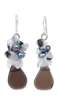 Pearl and quartz cluster earrings 'Blossoming Night'