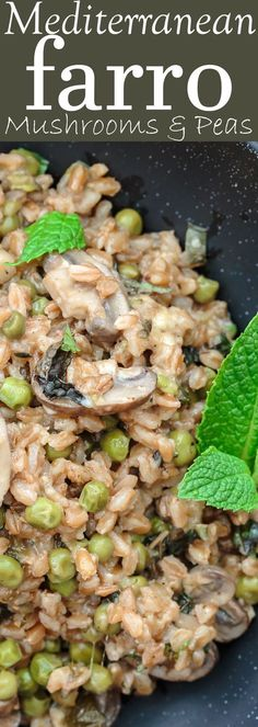 One-Pan Farro Recipe with Mushrooms and Peas   The Mediterranean Dish. This is my family's favorite farro recipe! Easy and tasty farro recipe made Mediterranean-style with mushrooms, peas, green onions, garlic, fresh herbs and more! So little work too! See the recipe on TheMediterraneanDish.com