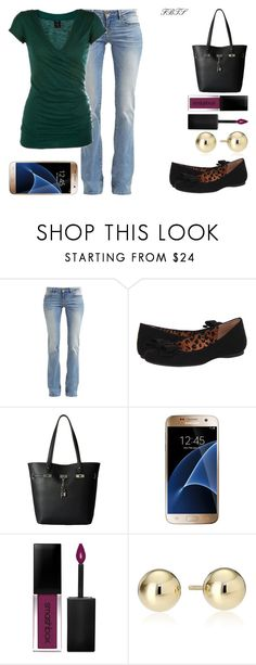 """""""Jeans & My Flats"""" by flybeyondtheskies ❤ liked on Polyvore featuring GUESS, Jessica Simpson, Carlos by Carlos Santana, Samsung and Smashbox"""