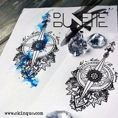 Mandala compass dotwork geometric tattoo inspiration idea bunette