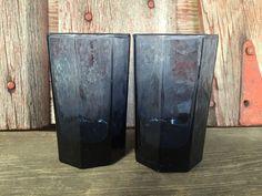 vintage Libbey Facets Smokey Cobalt blue juice by 1350Northvintage
