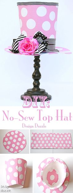 Easy DIY No Sew Top Hat Centerpiece | DIY Madhatter Tea Party Centerpiece Decoration by DIY Ready at  http://diyready.com/kids-tea-party-ideas/
