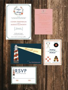 Nautical Wedding Invitation // 50 Printed Sets // Wes Anderson Wedding, Lighthouse Wedding, Beach Wedding