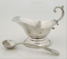 ASL Pewter 18th century Sauce Boat with Ladle
