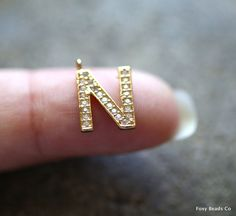 Letter N - Unique Initial Alphabet Letters, 24K Gold Plated with Zirconia - INTG-N