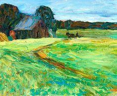 Vassily Kandinsky (1866-1944) - Vasilevskoe - Barn with Pony, 23 x 32 cm, oil on board source : http://www.sothebys.com/en.html