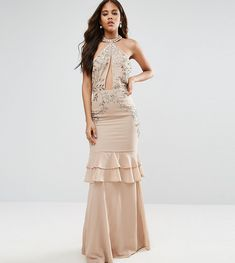 Maya Tall High Neck Embellished Plunge Front Maxi Dress With Frill Ski