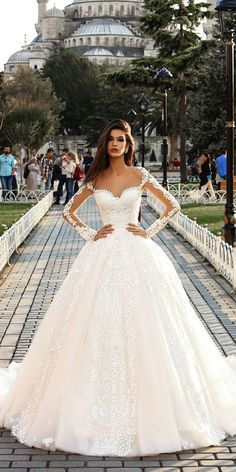 Pollardi Wedding Dresses 2018 That Look Hot ❤ pollardi wedding dresses ball gown with illusion sleeves ivory ❤ Full gallery: https://weddingdressesguide.com/pollardi-wedding-dresses/ #bridalgown #weddingdresses2018 #wedding #bride