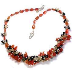 Carnelian, Citrine, Onyx Bead Necklace